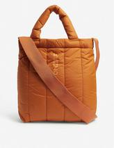 Quilted nylon tote bag in Orange