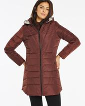 Chocolate Water Resistant Padded Coat with Side Zips in Brown
