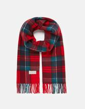 Bracken Check Woven Scarf in Red