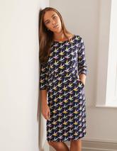 Penny Jersey Dress in Multicoloured and Navy