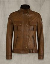 GANGSTER WAXED LEATHER JACKET in Brown