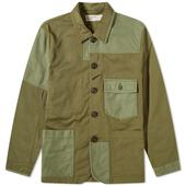 Universal Works Patchwork Bakers Jacket in Green