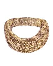 Animal Print Mark Making Brown Jersey Snood in Neutral
