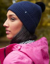 Thurley Knitted Bobble Hat in Navy