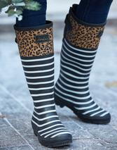 Printed Wellies With Adjustable Back Gusset in Black