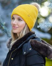 Thurley Knitted Bobble Hat in Yellow