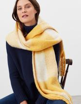 Lin Checked Warm Brushed Scarf in Yellow
