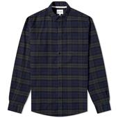 Norse Projects Anton Brushed Check Flannel Shirt in Green and Navy