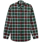 Edwin Heavy Flannel Check Labour Shirt in Green