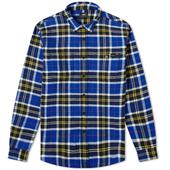 Edwin Heavy Flannel Check Labour Shirt in Blue