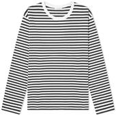 Nanamica Long Sleeve CoolMax St. Jersey Tee in White and Navy