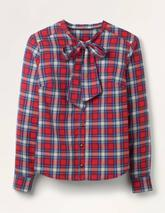 Susannah Bow Neck Shirt in Red