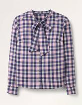 Susannah Bow Neck Shirt in Navy