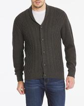 Charcoal Cable Knit Cardigan in Grey