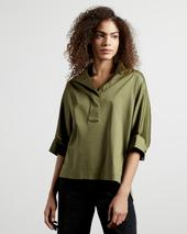 AVEREYE Wide neck cotton batwing blouse in Green