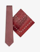 Geometric silk tie and pocket square set in Red
