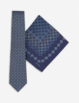 Geometric silk tie and pocket square set in Blue