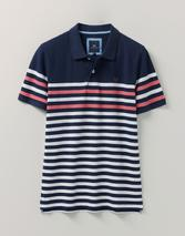 Eden Stripe Polo Shirt in White and Navy