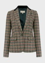 Blake Wool Check Jacket in Brown