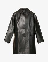 Oil coated cotton-blend coat in Black