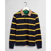 Breton Stripe Contrast Heavy Rugger in Navy