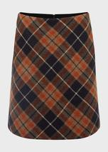 Elea Wool Check A Line Skirt in Orange and Navy