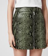 Lena Oba Leather Skirt in Green