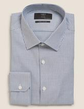 Tailored Fit Pure Cotton Striped Shirt in Blue