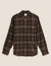Pure Cotton Flannel Checked Shirt in Green