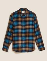 Pure Cotton Flannel Checked Shirt in Green and Blue