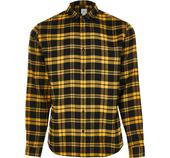 Mens River Island Yellow long sleeve check regular fit shirt in Yellow and Black