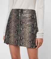 Lena Oba Leather Skirt in Grey