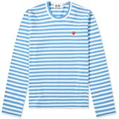 Comme des Garcons Play Women's Little Red Heart Long Sleeve Tee in Blue