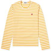 Comme des Garcons Play Women's Little Red Heart Stripe Tee in Yellow