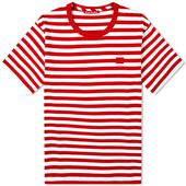Acne Studios Nash Stripe Face Tee in Red and White