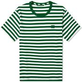 Acne Studios Nash Stripe Face Tee in Green and White