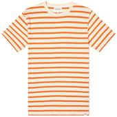 Norse Projects Niels Pique Stripe in Orange and Neutral