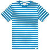 Norse Projects Niels Pique Stripe in White and Blue