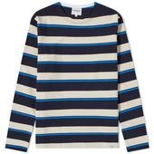 Norse Projects Long Sleeve Godtfred Classic Compact Tee in Neutral and Navy