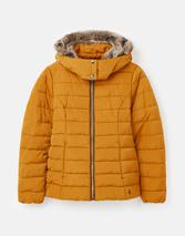 Cassington Padded Coat with Fur Collar and Hood in Orange