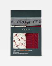 Crown Joules Boxers 2 Pack in Red and White