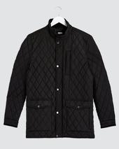 Black Quilted Three Pocket Jacket Long in Black