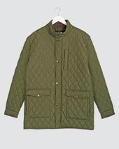 Olive Quilted Three Pocket Jacket Long in Green