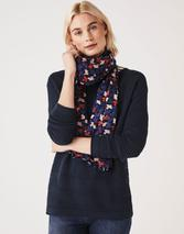 Lightweight Printed Scarf in Navy
