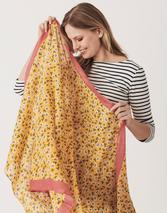 Lightweight Printed Scarf in Yellow