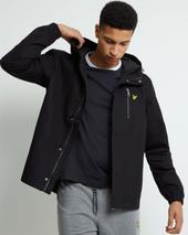 Hooded Curved Hem Jacket in Black