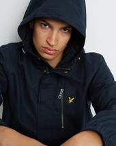 Hooded Curved Hem Jacket in Navy