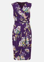 Franchesca Floral Print Dress in Purple