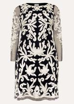 Aimee Tapework Lace Dress in Black