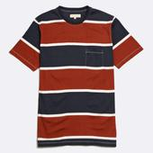 Dos Stripe T-Shirt in Red and Navy